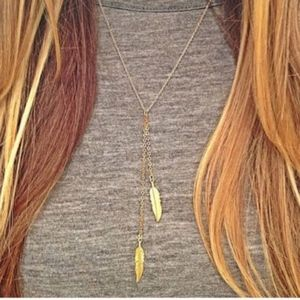 3/$20...Gold Feathers Tassels Necklace